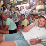 Brett Favre of Fenton Community talks to the Atlanta Falcons on NFL draft  day April 21, 1991 in his bedroom.  Favre, a QB at USM, was drafted in the  second round by the Falcons and was the 33 player chosen in the draft.